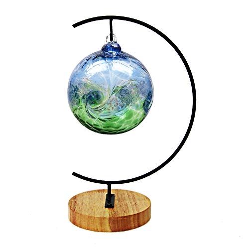 Fosinz Ornament Display Stand Round Wood Iron Hanging Stand Holder for Hanging Glass Globe Air Plant Terrarium Ball Christmas Ornament Home Wedding Decoration