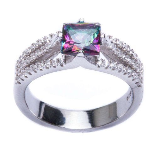 Oxford Diamond Co .925 Sterling Silver 2.50ct Square Rainbow Colored CZ & Cz Ring Size 5