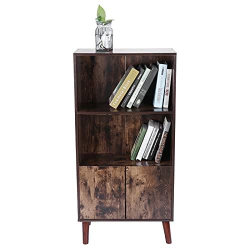 Zerone - Biblioteca industrial con pie y armario de libros retro con puerta de armario de libros con estante abierto para salón, oficina, sala de estudio, 120 x 60 x 30 cm