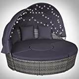Tidyard Round Beach / Garden / Pool Bed with Gray Woven Resin LED Cushions