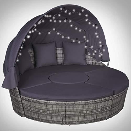 vidaXL 4 TLG Garten-Lounge-Set Gartenmöbel mit Polstern & LEDs Poly Rattan Grau