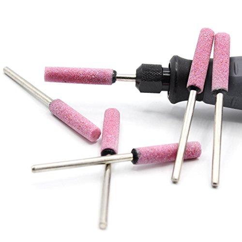6x Schleifsteine Zylinder Ø4mm für Dremel, Proxxon Schleifer Zubehör Schleifstei Multifunktionswerkzeug z.B für Kettensäge Sägekette