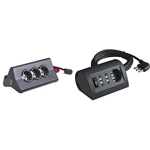 BTicino S3713GBU Multipresa da Scrivania con Spina 10 A, 3 P30, 2 Prese USB, Interruttore, 2 m, Nero & S3711GB Multipresa da Scrivania/Tavolo con Interruttore Luminoso, Nero