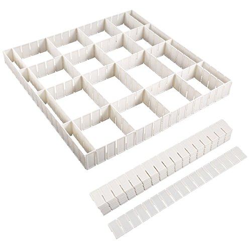 Anladia Drawer Divider, Sock Organizer 12/24 Pack Adjustable Drawer Storage Organizer for Clutter Kitchen Cutlery Dresser Makeup Tools Socks Clothes, DIY Grid Clapboard Divider