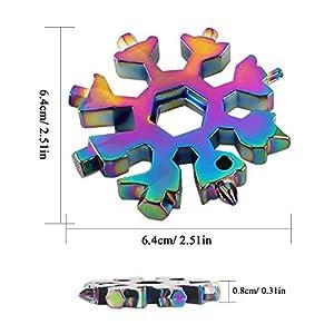 Multi Herramienta Copo de Nieve,18-en-1 Herramienta del Copo de Nieve,Multiherramienta de Acero Inoxidable,Destornillador Multi-herramienta Llave Hexagonal Abrebotellas (Color)