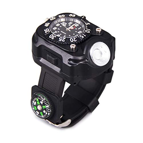 SUNDERPOWER Rechargeable Led Torch Wrist Light Flashlight, Tactical Flashlight Waterproof Watch with Compass for Outdoor Running, Hiking, Camping