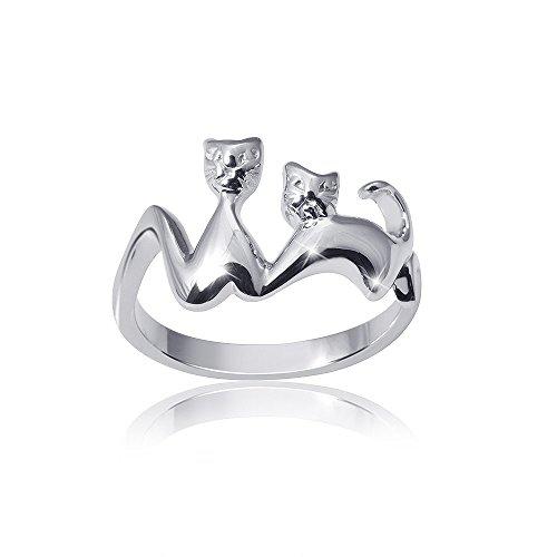 MATERIA Damen Katzen Ring Silber 925 rhodiniert - Tier Partnerring Liebe mit Etui #SR-85, Ringgrößen:51 (16.2 mm Ø)