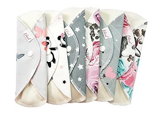Lilind® 6 Stück 17,8 cm Everyday Slipeinlagen, Bio-Tuch, wiederverwendbare Menstruationsbinden, 100% Baumwolle, zufällige Blumen