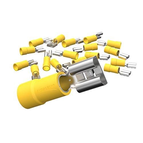 AUPROTEC 100x Flachsteckhülsen 4,0-6,0 mm² gelb/Steckbreite 6,3 mm Teilisoliert PVC weiblicher Steckverbinder FDD Kabel-Verbinder aus Messing verzinnt