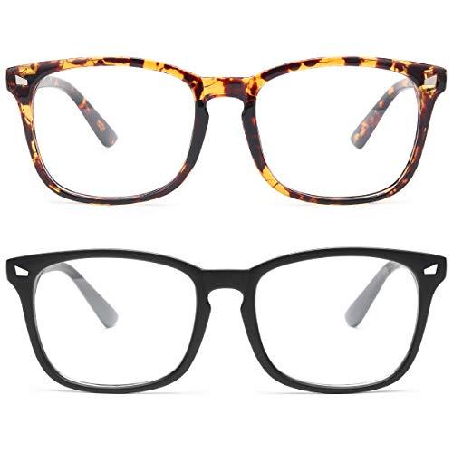 livho 2 Pack Blue Light Blocking Glasses, Computer Reading/Gaming/TV/Phones Glasses for Women Men,Anti Eyestrain & UV Glare (Matte Black+Tortoise)