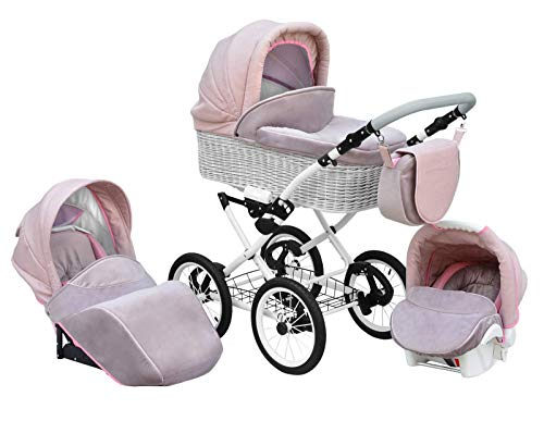 SKYLINE Klassisch Retro Stil Wicker LUX Kombi-Kinderwagen Buggy 3in1 Reise System Autositz (Isofix) (Light Pink/14