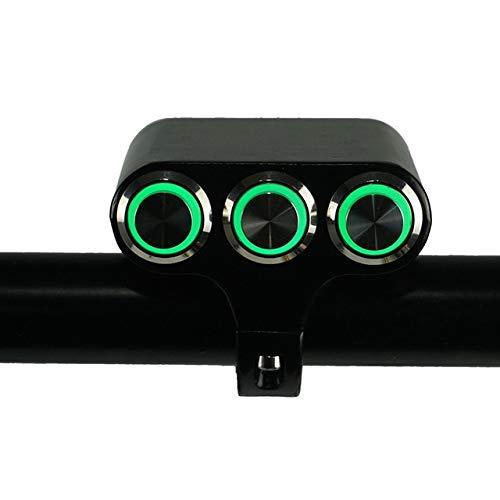 SHENLIJUAN Interruptor de la Motocicleta 7/8' 22 mm Montaje del Manillar Interruptores Faro de Peligro Freno luz de Niebla ON/Off de Aluminio (Color : Green Light, Size : Gratis)