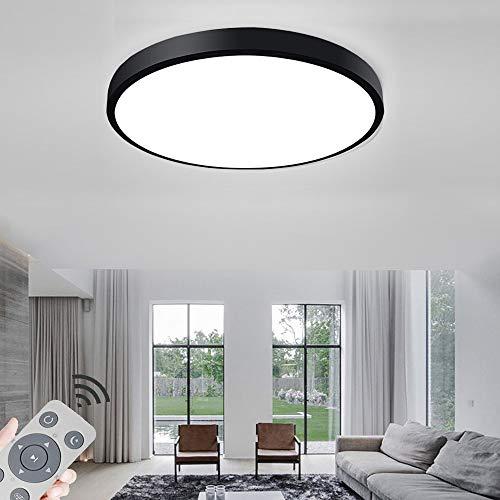 LED Deckenleuchte Rund 36W Dimmbar Deckenlampe für Schlafzimmer Flur Küche Wohnzimmer - Schwarz Ø450 * 60 mm