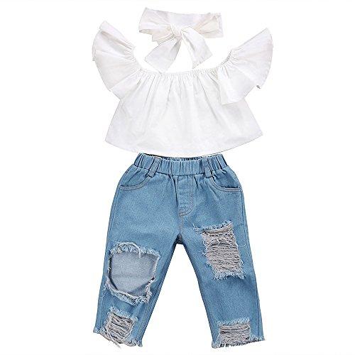 Jimmackey Soolike Neonata Bambine off Spalla Falbala Cime + Buco Denim Pant Fascia Bambino Vestiti Set (Bianca, 3 Anni)