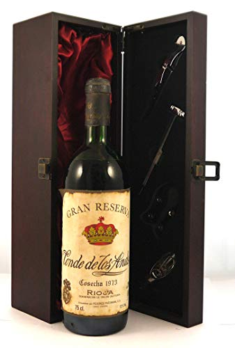 Rioja Gran Reserva 1973 Conde de Los Andes en una caja de regalo forrada de seda con cuatro accesorios de vino, 1 x 750ml