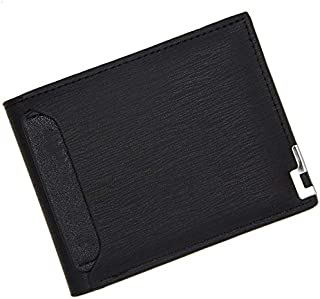 ZHJshatezi محافظ للرجال سليم جلد رجالي حظر بطاقة الحد الأدنى (Color : Black)