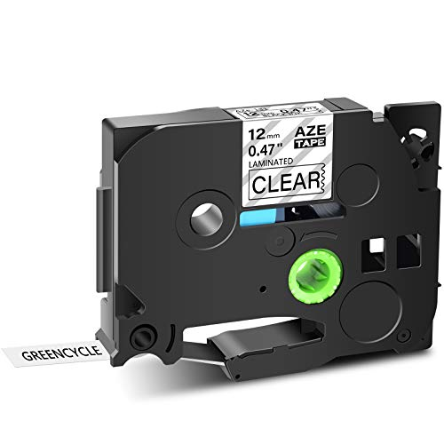 GREENCYCLE 1 Pack Compatible for Brother TZ TZe 131 TZ-131 TZe-131 Standard Label Tape for Ptouch PT-D210 PT-H110 PT-D400AD Label Maker 12mm (1/2 Inch) x 8m (26.2 ft) Laminated Black on Clear