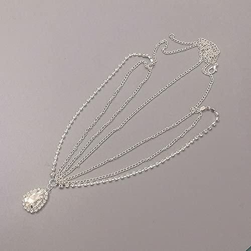 Rongxin Colgante de cristal para la frente, para cejas, para la frente, con forma de gota de agua, accesorios para el cabello, cadena de cabeza bohemia, tocado nacional (color metálico: plata)