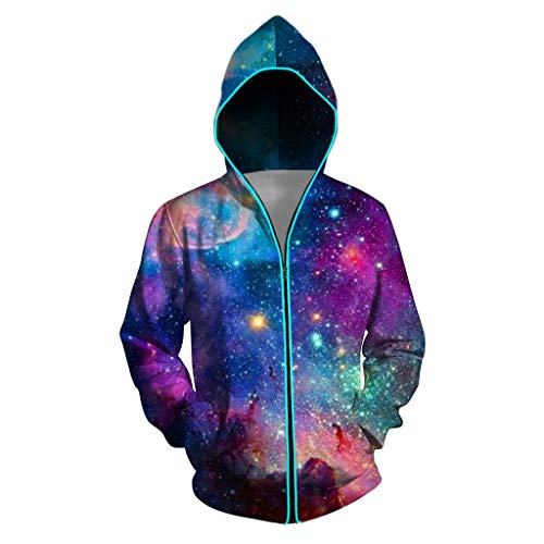 MAYOGO LED Jacke Unisex Glühend Bunt Softshell Club Hip Hop Jacke Hippie Jacke Sweatjacke Sweatshirt Kapuzenjacke Nachtclub Jacke, Blau,XL