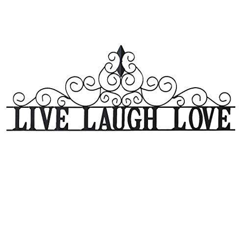 Collections Etc Scrolling Live Laugh Love Metal Wall Art, Standard, Black