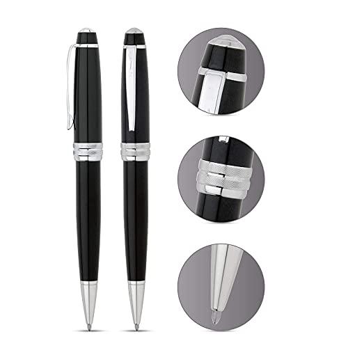 Lihuzmd Bolígrafo de Metal, Juego de bolígrafos Negros, Elegante Juego de bolígrafos ejecutivos para Mujeres o Hombres, recargas de Tinta Negra, bolígrafo de Escritura Suave
