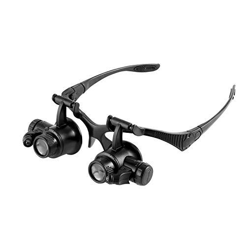 Lupe Stirnband Brille Lupe, 25-fache Vergrößerungslupe für Juweliere, Uhren-Reparaturset, LED-Licht, 20-fache Vergrößerung