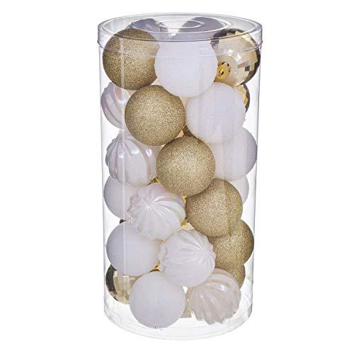 WEB2O - Set Di 30 Palline Decorative Per Albero Di Natale, Colore: Oro E Bianco.