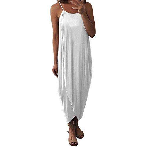 OverDose mujer Visten Las Correas Flojas del Verano Las Vacaciones Elegantes Casuales Partido del Vestido Bohemio De La Playa del O-Cuello SóLido (M, Blanco)