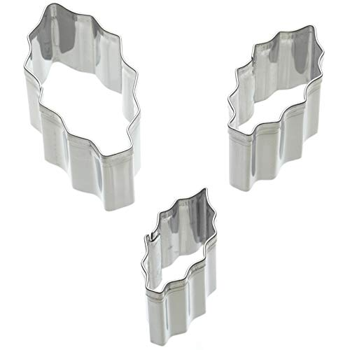 Kitchen Craft SDICUTHOL3PC Holly Leaf Icing Cutter Set, Stainless Steel, Argent, 3 Pieces