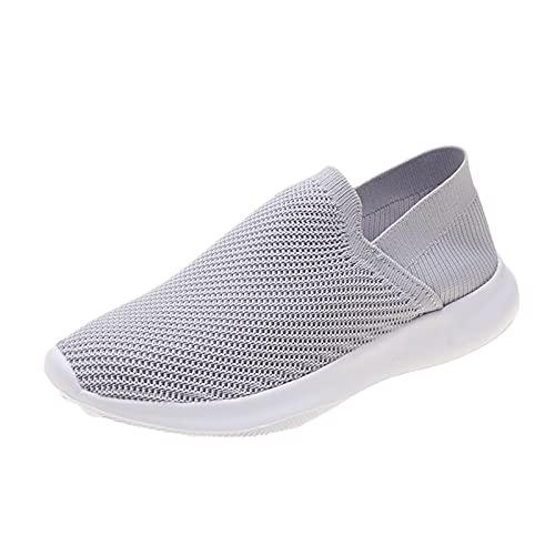 Zapatillas Deportivas para Mujer Transpirables Ligeras de Malla para Correr Caminar Trabajar(G03_Gray,42)