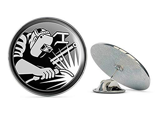 NYC Jewelers Round Hardhat Sized Welder Logo (Welding Weld) Metal 0.75' Lapel Hat Pin Tie Tack Pinback