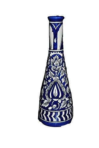 Jarrones de cerámica pintados a mano para decoración del hogar, color azul