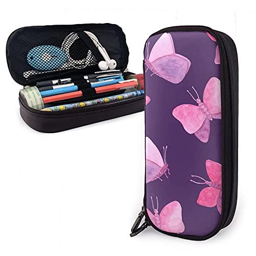 Estuche de piel sintética con diseño de mariposas rosadas abstractas, de acuarela, de gran capacidad, bolsa de maquillaje para escuela, estudiante y oficina