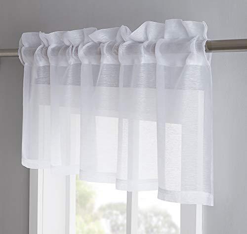 "Jane - Semi-Sheer Window Valance (54 x 18) - Elegant Home Decor Window Treatments - Add to Window Curtains for Enhanced Effect (1 Valance 54"" W x 18"" L, White)"