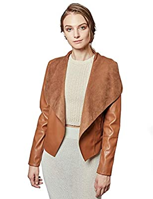 Escalier Women's Faux Leather Jackets Slim Open Front Lapel Blazer Jackets Brown X-Large