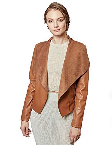 Escalier Women's Faux Leather Jackets Slim Open Front Lapel Blazer Jackets Brown Large