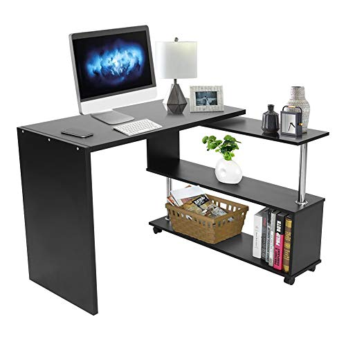 Escritorio de Esquina Giratorio de 360 Grados, Ajustable, en Forma de L, Escritorio de Esquina para computadora con estantes, con 4 Ruedas para la Oficina en casa (Negro)