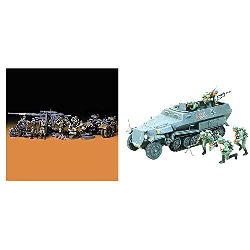 Tamiya 300035017 Maqueta de cañón antiaéreo con motocicleta y 9 soldados (época: 2ª GM, escala: 1:35) + Vehiculo semioruga sd.kfz 251/1 hanomag escala 1:35 (35020)