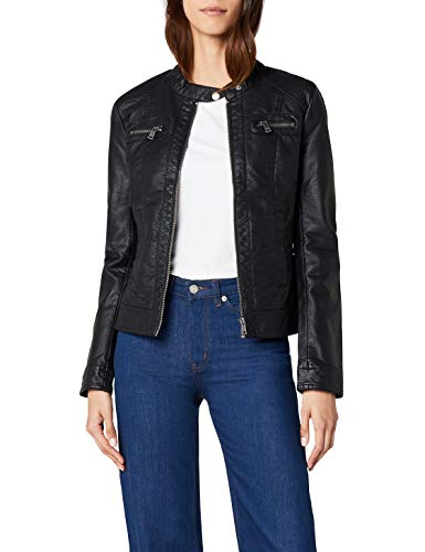 ONLY Damen Onlbandit Faux Leather Biker Otw Noos Jacke, Schwarz(blackblack), 40 EU