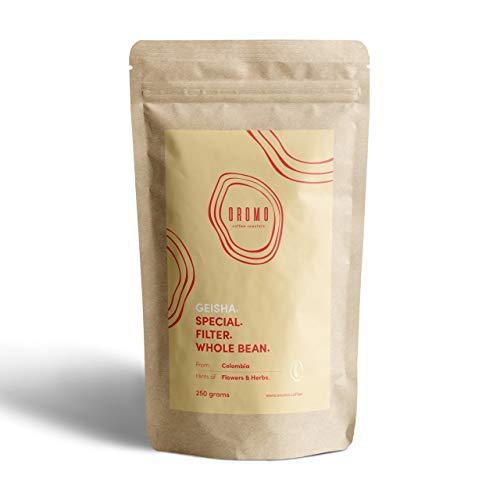 Geisha Premium Kaffee | Edelster Kaffee der Welt von OROMO COFFEE | 100% Arabica 100% Qualität | Ganze Bohne handverlesen und handgeröstet | Florales, süssliches, tiefes Aroma