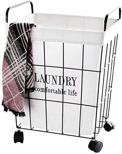 Feceyq Foldable Laundry Basket Home Use Laundry Basket Large Rectangular Black Metal Basket with Wheels Removable Storage Basket Easy to Store and Use Less Space Best Gift (Size : 45x32x51cm)