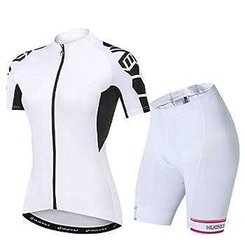 NUCKILY Women s Cycling Jersey Short Sleeve Set Suit with BIB Short Padded Bike Bicycle Clothing Biking Riding Shirts