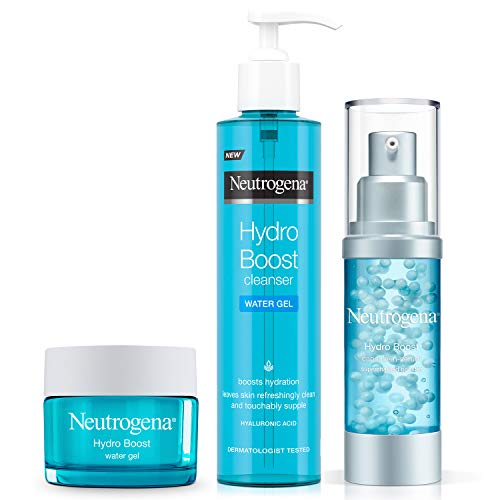 Neutrogena Hydro Boost Series, 3-Step Facial Regime, Hydration Starter Set and Skin Care Kit (Cleanser + Moisturiser + Booster), Saving Bundle
