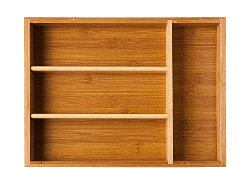 UH Choice Schöne Premium Qualität Besteckeinsatz Besteckkasten Schubladeneinsatz Küchenorganizer Cutlery Tray aus Bambus, Innenmaße 23,5 cm x 33,5 cm, Außenmaße 25 cm x 35 cm