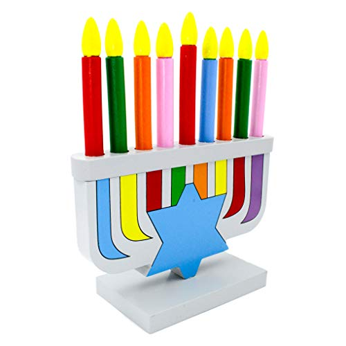 Hanukkah Children's Wooden Chanukah Menorah With Removable Candles