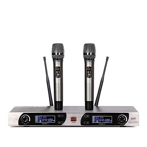 Honglimeiwujindian Schnurloses Dynamisches Mikrofon Lade Frequency Modulation True Diversity One-to-One-Wireless-Mikrofon Leistung Schulversammlung Interferenzfreie Ferngespräche (Farbe : Black, Size