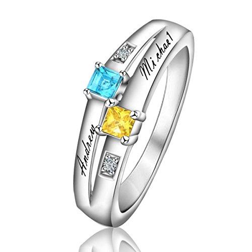 Quiges Damen Personalisiert Gravur Name Doppel Solitär Ring 925 Sterling Silber Zirkonia Geburtsstein Ringgröße 53