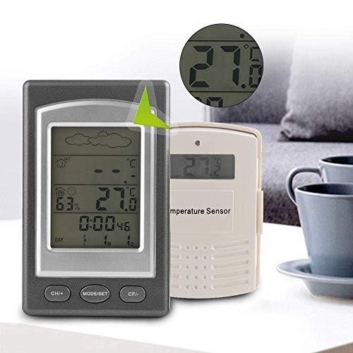 Jeffergrill 2 en 1 Mini portátil LCD inalámbrico Diaplay Weather Forecast Higrómetro y termómetro
