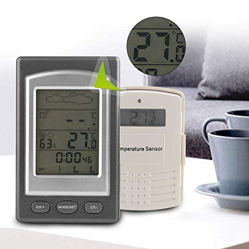 Jeffergrill 2 en 1 Mini portátil LCD inalámbrico Diaplay Weather Forecast Higrómetro y termómetro