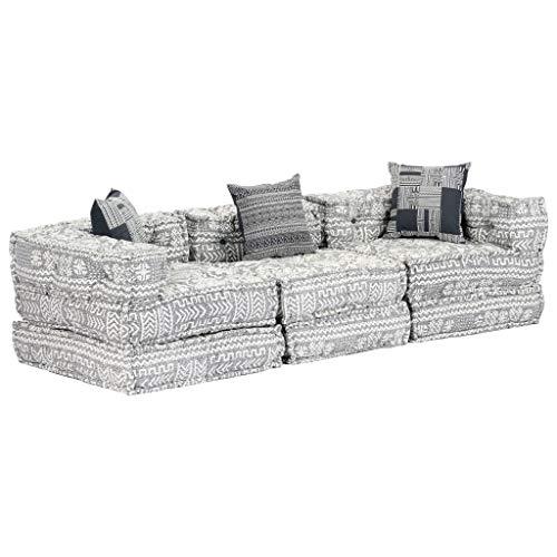 Festnight Modulares 3-Sitzer-Schlafsofa Patchwork Sofabett Lounge Sofa Ecksofa Couch für Wohnzimmer oder Schlafzimmer Hellgrau Stoff 200 x 70 x 56 cm